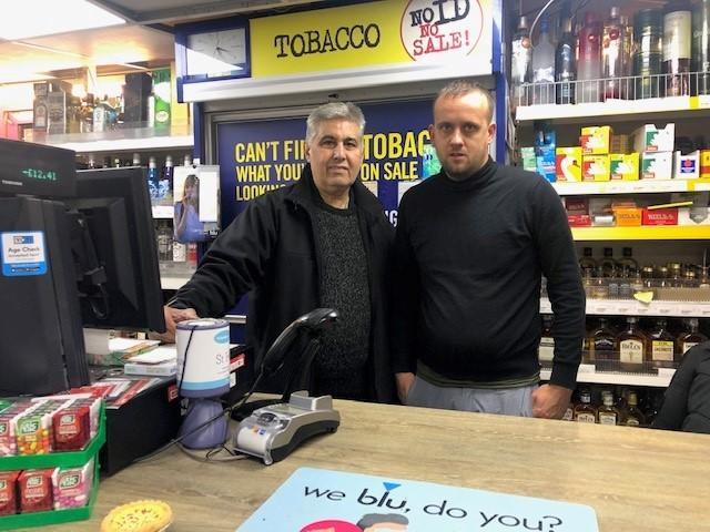 BRUTAL ATTACK: Tollgate post office owner, Nitin Bhayani with shopkeeper Andrew Walls