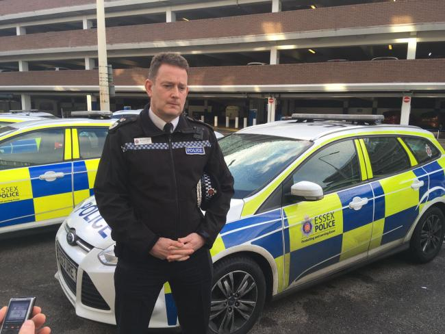 Response - Chief Constable BJ Harrington outside Basildon police station