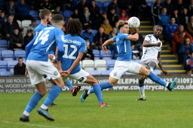 Strike - Theo Robinson tries his luck for Colchester United the last time they took on Macclesfield Town, last September Picture: RICHARD BLAXALL