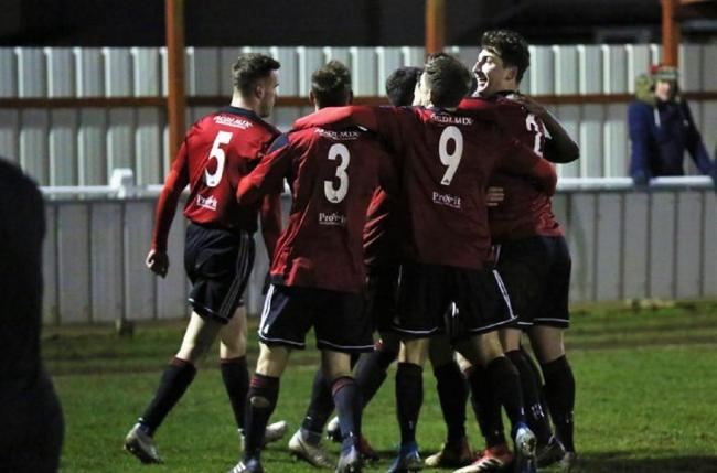 Remaining defiant: Regent celebrate Jake Clowsley's goal in their recent victory against Bishop's Stortford. Boss Kem Izzet is still confident they can avoid the drop this season. Picture: NEIL PAYNE