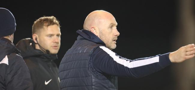 Looking for more - Colchester United head coach John McGreal gives out instructions against Grimsby Town Picture: STEVE BRADING