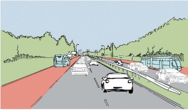 CGI - how the new road could look between the A120 and A133and (inset) county councillor Julie Young