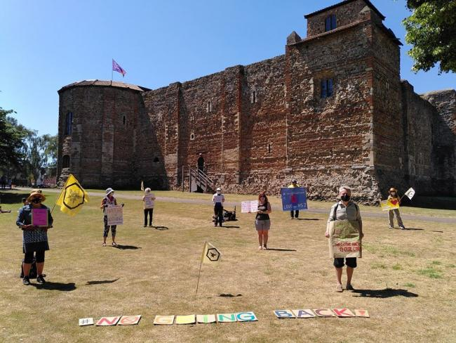 Protest - campaigners outside Colchester Castle. Picture: Extinction Rebellion Colchester