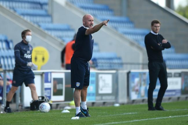 Pointing the way - Colchester United head coach John McGreal gives out instructions during his side's 1-0 win over Exeter City in their play-off semi-final first leg Picture: RICHARD BLAXALL