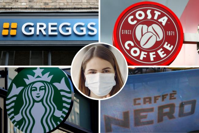 Face mask rules: Costa Coffee, Caffe Nero, Greggs and Starbucks share update. Picture: Newsquest