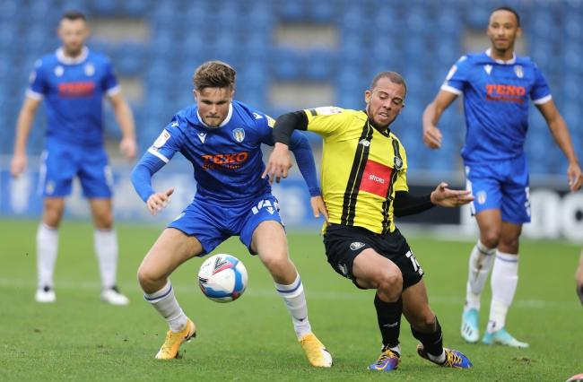 Hot prospect - Colchester United midfielder Noah Chilvers in action against Harrogate Town Picture: STEVE BRADING