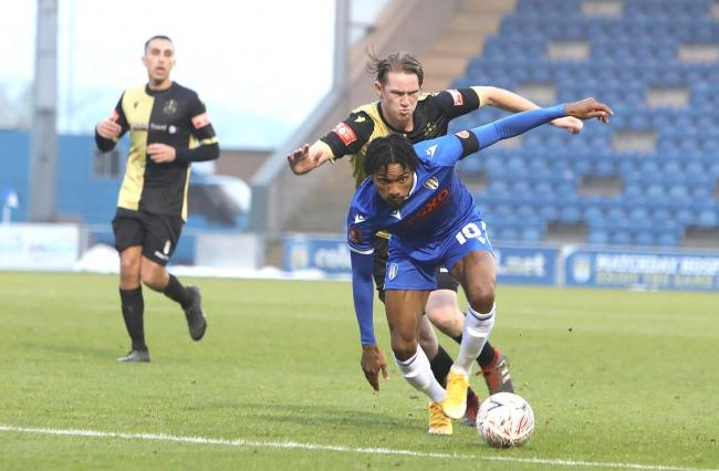Forward play - Colchester United attacker Jevani Brown in action against Marine Picture: STEVE BRADING