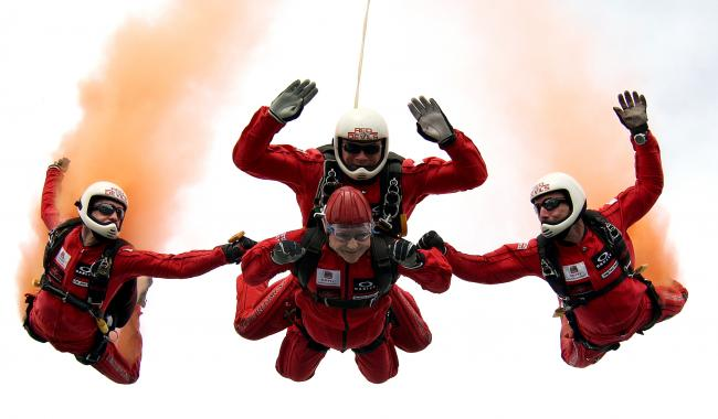 Flash back -Joan Harding skydiving with the Red Devils parachute team for her 90th birthday