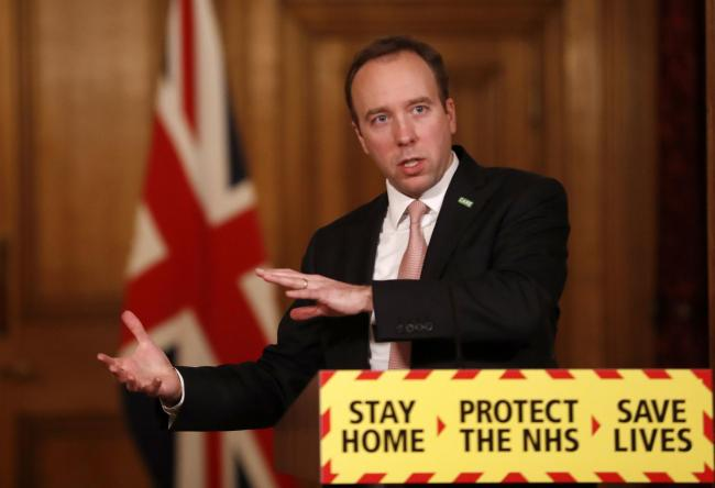 Health Secretary Matt Hancock during a media briefing in Downing Street. He will address the nation again tonight. Picture: Alastair Grant/PA Wire