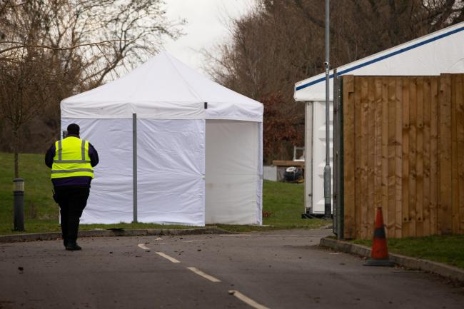 A tent at the entrance to the temporary mortuary facility in Ruislip. A new one is being created in Chelmsford. Picture: PA