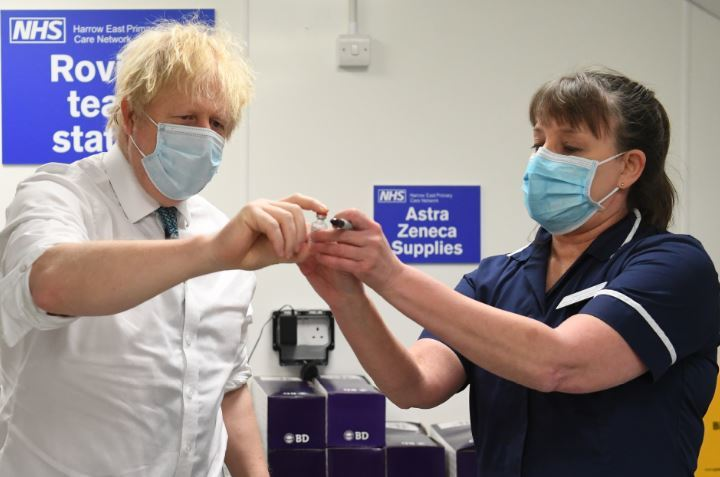 Prime Minister Boris Johnson pictured at the Covid vaccination centre at Edgware, north London. Credit: PA