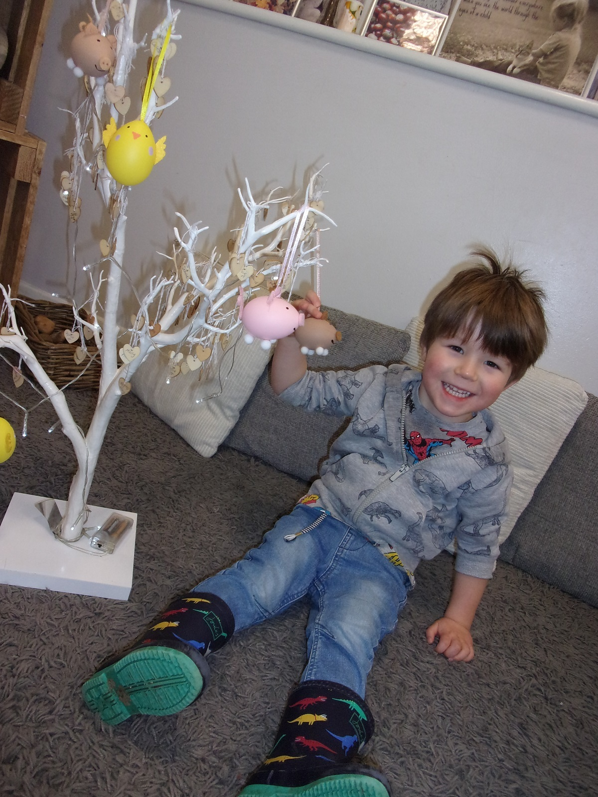 Branching out - Thomas Coates is busy decorating an Easter tree