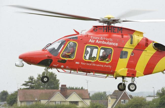 The air ambulance has been called to the scene of the incident