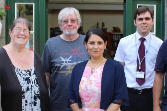 Witham MP Priti Patel with key members of the Museum of Power team during her visit in August 2019.  From left, Debbie Thomas, Museum Manager, Dr Roger Griffin, Chairman of the Board of Trustees and James Gulleford, Assistant Museum Manager