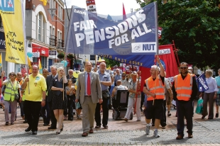 Teachers on the march in Chelmsford, led by Jerry Glazier (red tie)