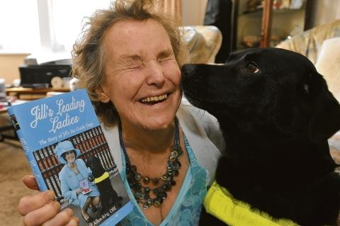 Campaigner for the blind Jill Allen-King with Amanda and her new book