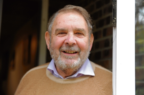 Lord Hanningfield outside his home.