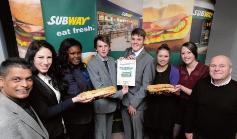 The winning pupils at Subway