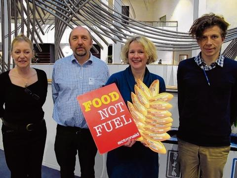 Liz Carlton (left), with other Action Aid campaigners and Vicky Ford MEP in Brussels
