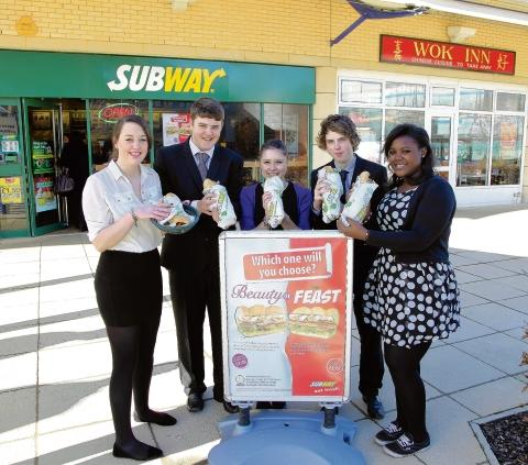 Chelmsford Weekly News: Jodie Whymark, Oliver Vale, Laura Stedman, Nathan Pine and Amoy Mcleod at Chelmsford Subway