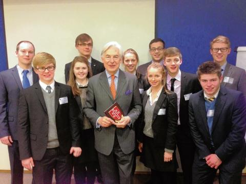 Pupils with MEP Geoffrey van Orden