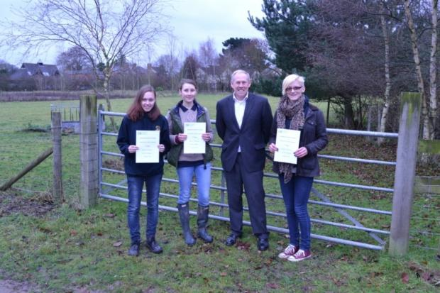 Left to right: Hannah Hensley, Katy Corrigan, the college's head of further education Andy Sparks and Victoria Parrish after the students came second in a Natural England competition