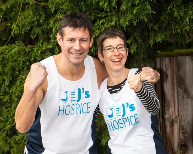 J's CEO Stuart Hornsby with charity worker Caroline Hare who are gearing up for Chelmsford's first marathon