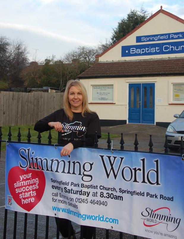 Chelmsford Weekly News: Slimming World consultant Emma Lodge outside Springfield Park Baptist Church