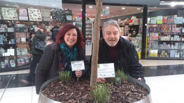 Chelmsford Weekly News: Linda Mascot from Freefood Chelmsford and Mick McDonagh, manager of High Chelmer Shopping Centre, with some of the herbs