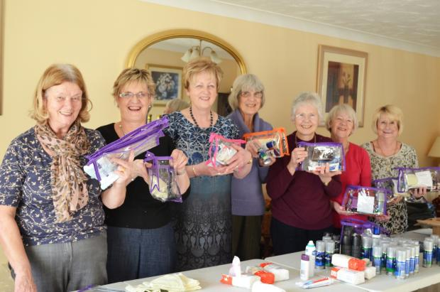 Members of Friends at Broomfield Hospital with the toiletry bags