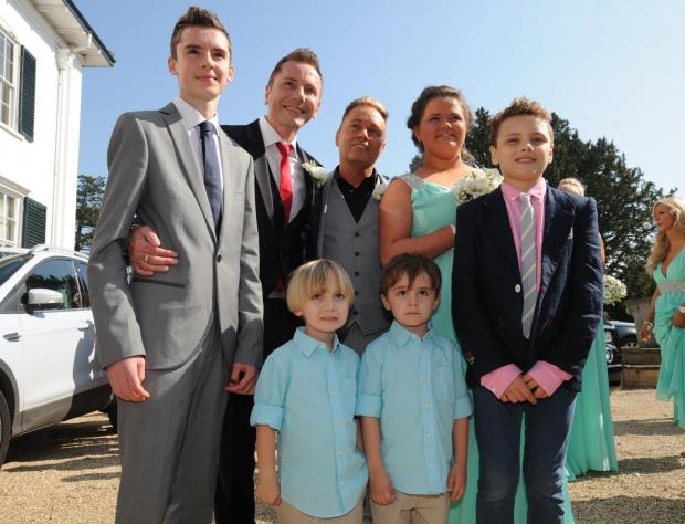Tony and Barrie with their children left to right, Aspen, twins Jasper and Dallas, Saffron and Orlando