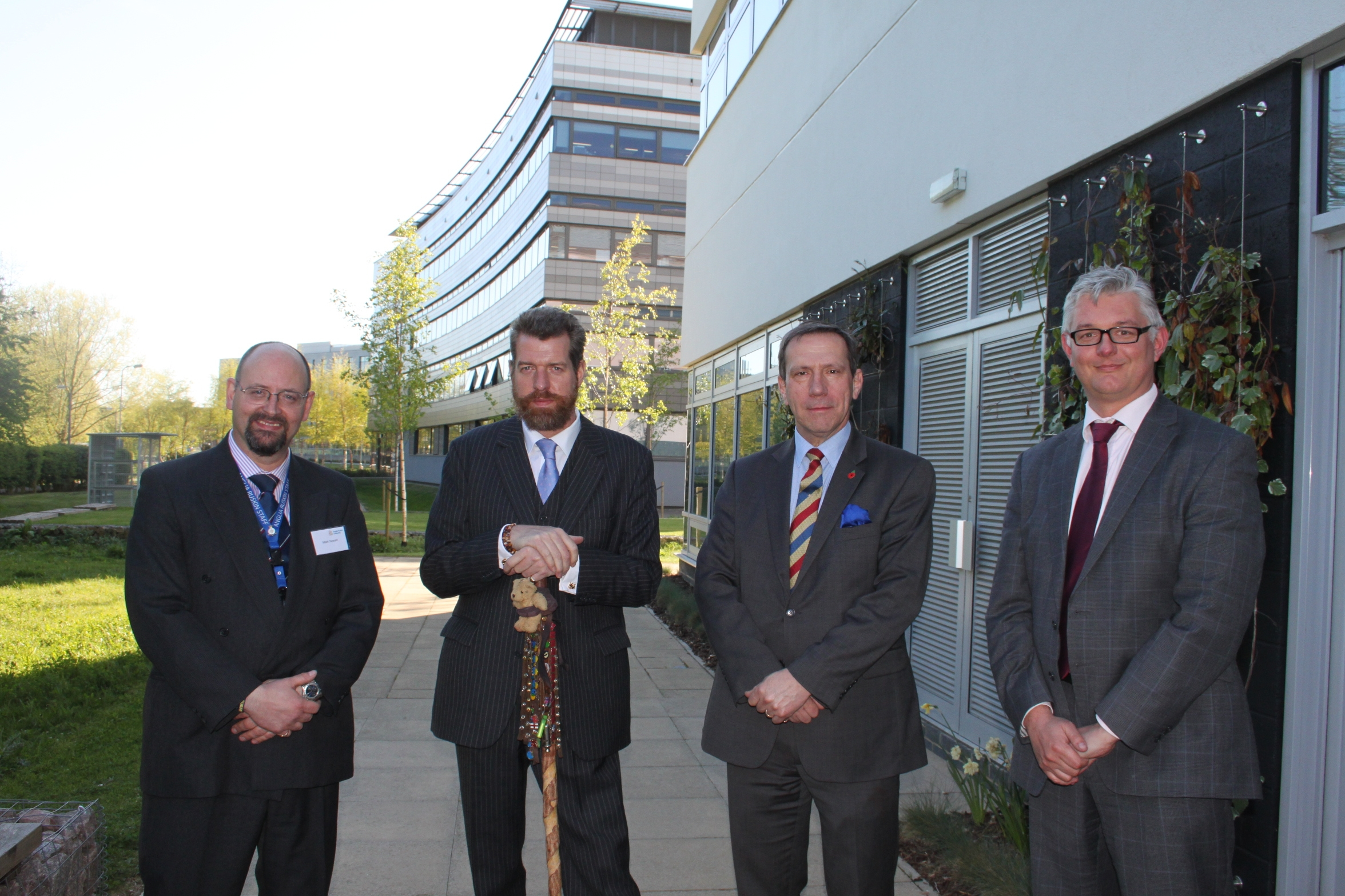 L-R: Mark Stewart, Phil Packer, Jamie Hacker-Hughes and Matt Fossey at Anglia Ruskin for the institute launch