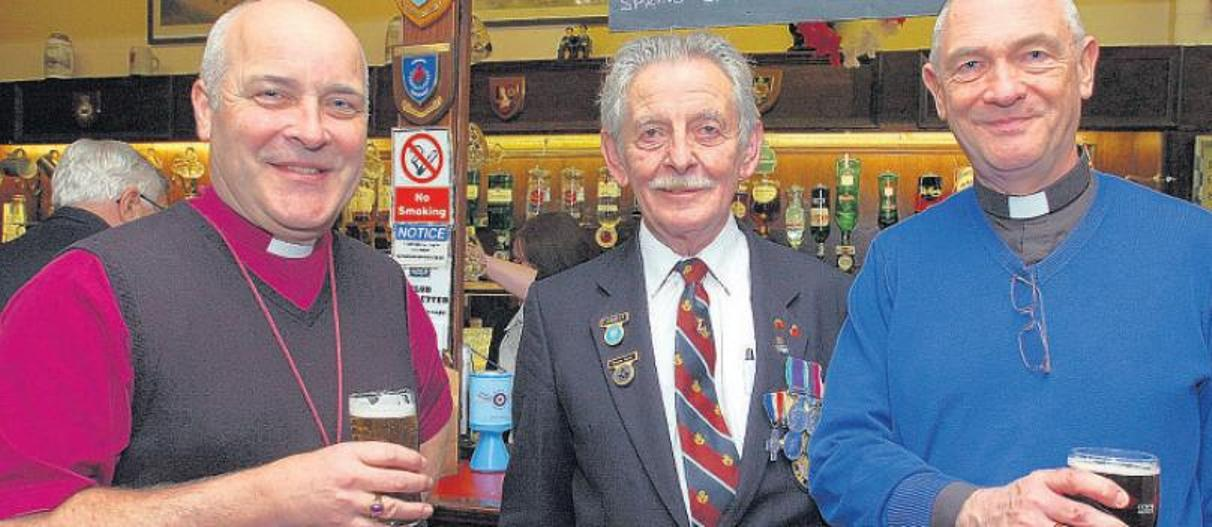 Stephen Cottrell with veteran Dennis Ward and Canon Stephen Burdett, of St John's Church, Southend