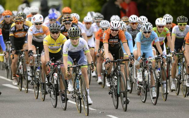 Women's Tour riders in Manningtree