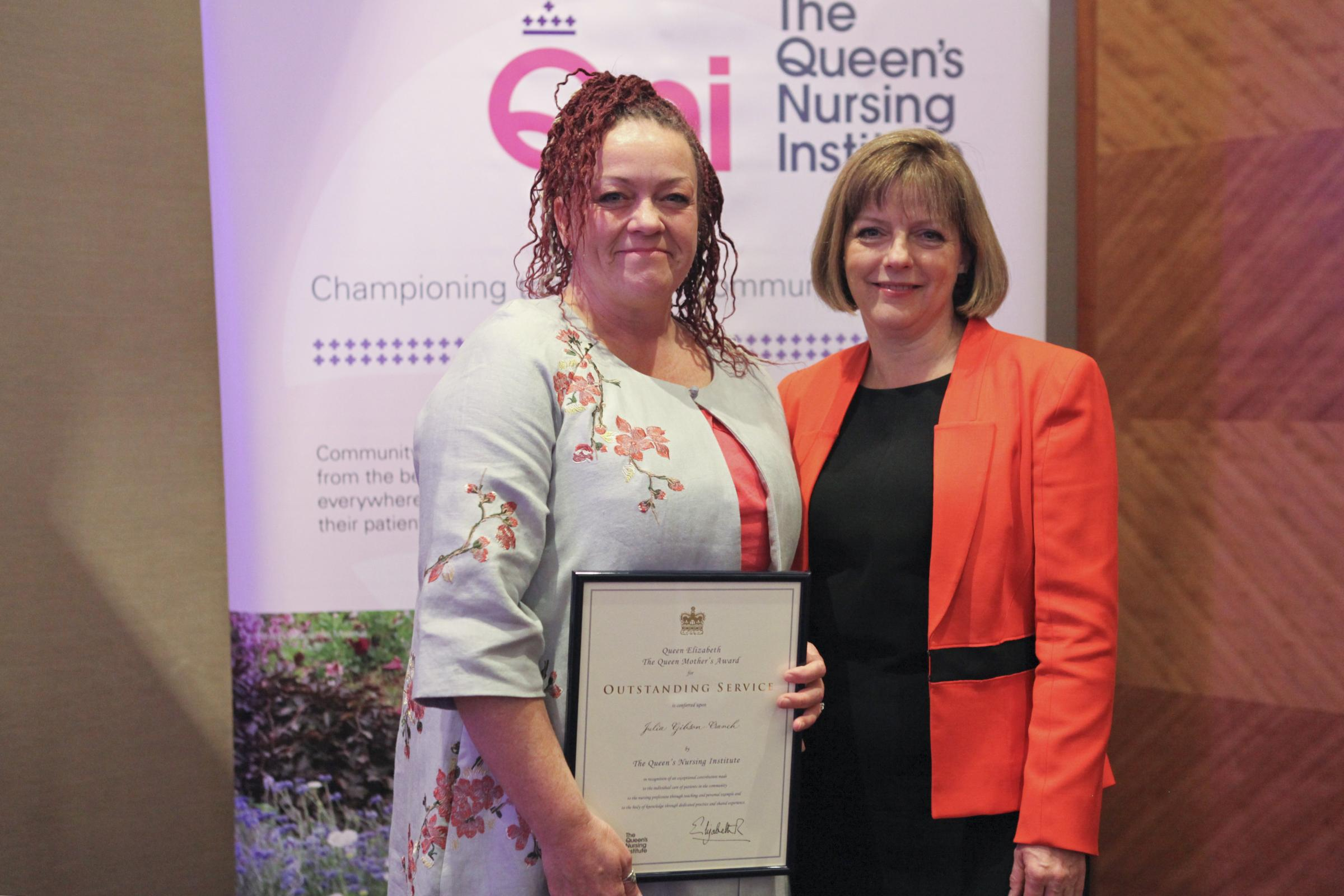 Award: Julia Gibson-Cranch with Jane Cummings, chief nursing officer