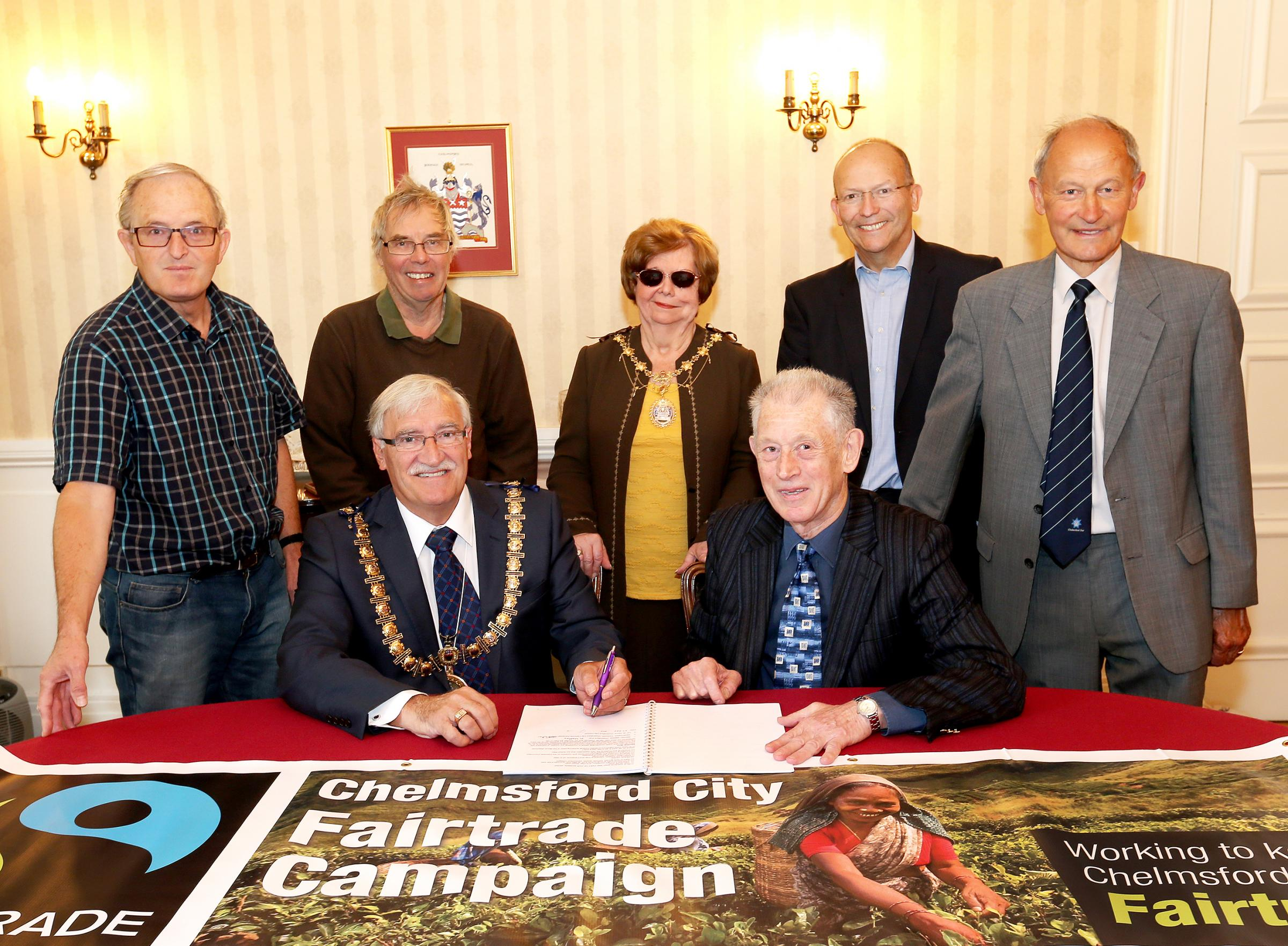 Fairtrade: Back row (l-r) Tony Bender, David Parker, Mayoress of Chelmsford, Steve Packham and Micheal Whalley. Front row (l-r) Mayor of Chelmsford and Malcolm Wallace