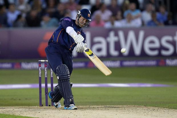Tim Phillips hits a six against Middlesex. PIC: GAVIN ELLIS/TGS PHOTOS