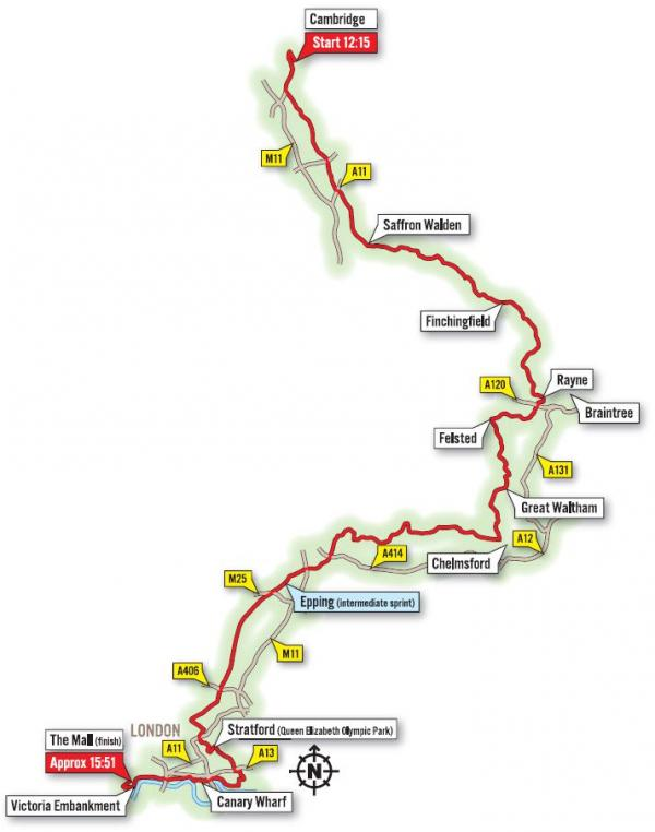 Route map: Tour de France through Essex