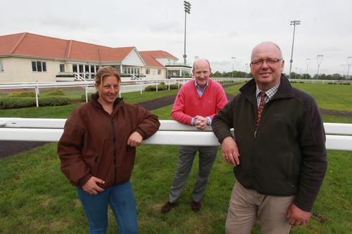 Sam McGinn (stables manager), Simon Bailey (operations director) and Andy Waitt (clerk of the course) in May this year