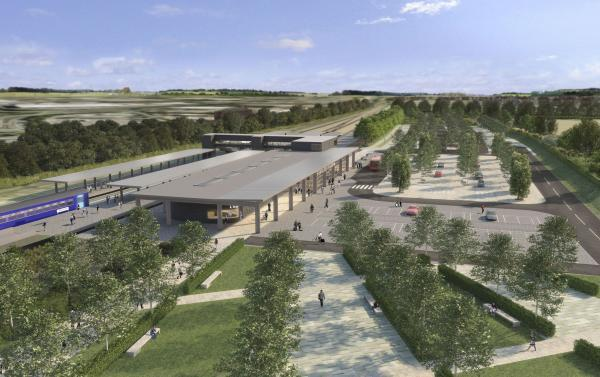 An artist's impression of the new railway station at Beaulieu
