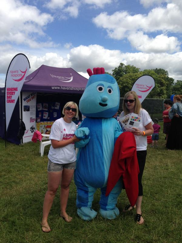 Little Havens Hospices Events Fundraisers Emma Hamilton and Susie May with Iggle Piggle who will be starting the Toddle Waddle.