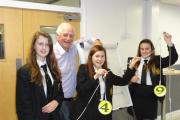 Johnny Ball with students Amy Bagley, Leah Hartoun and Isobel Wells