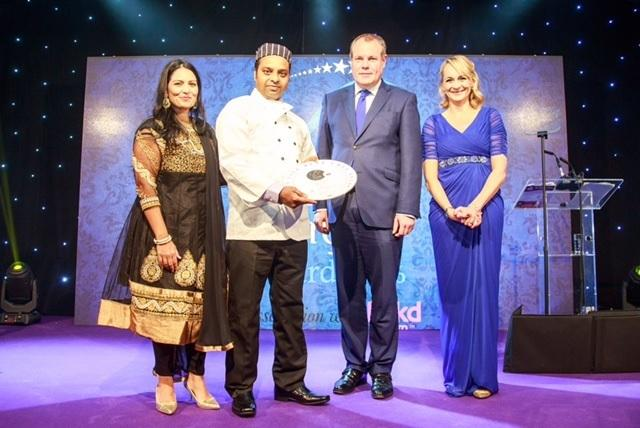 Award - Rt Hon Priti Patel MP, Secretary of State for International Development, Winning Chef Shaher Miah from Indian Night Chelmsford, Mr Conor Burns MP and Journalist Broadcaster Louise Minchin.