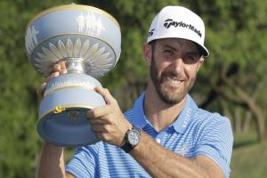 Dustin Johnson holds off Jon Rahm to win third title in succession