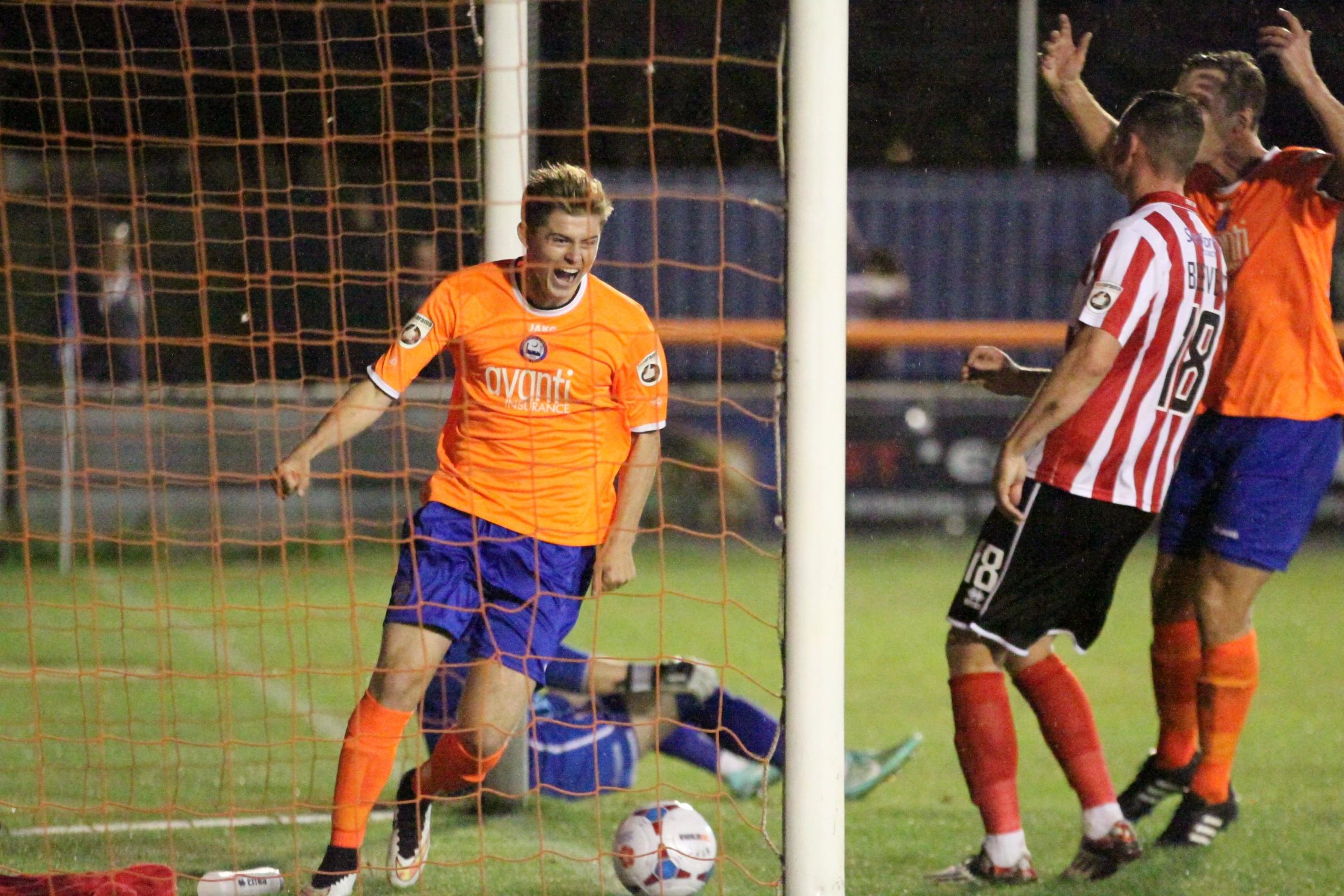 Match winner - Taylor Miles, pictured playing for Braintree Town Picture: ALAN STUCKEY