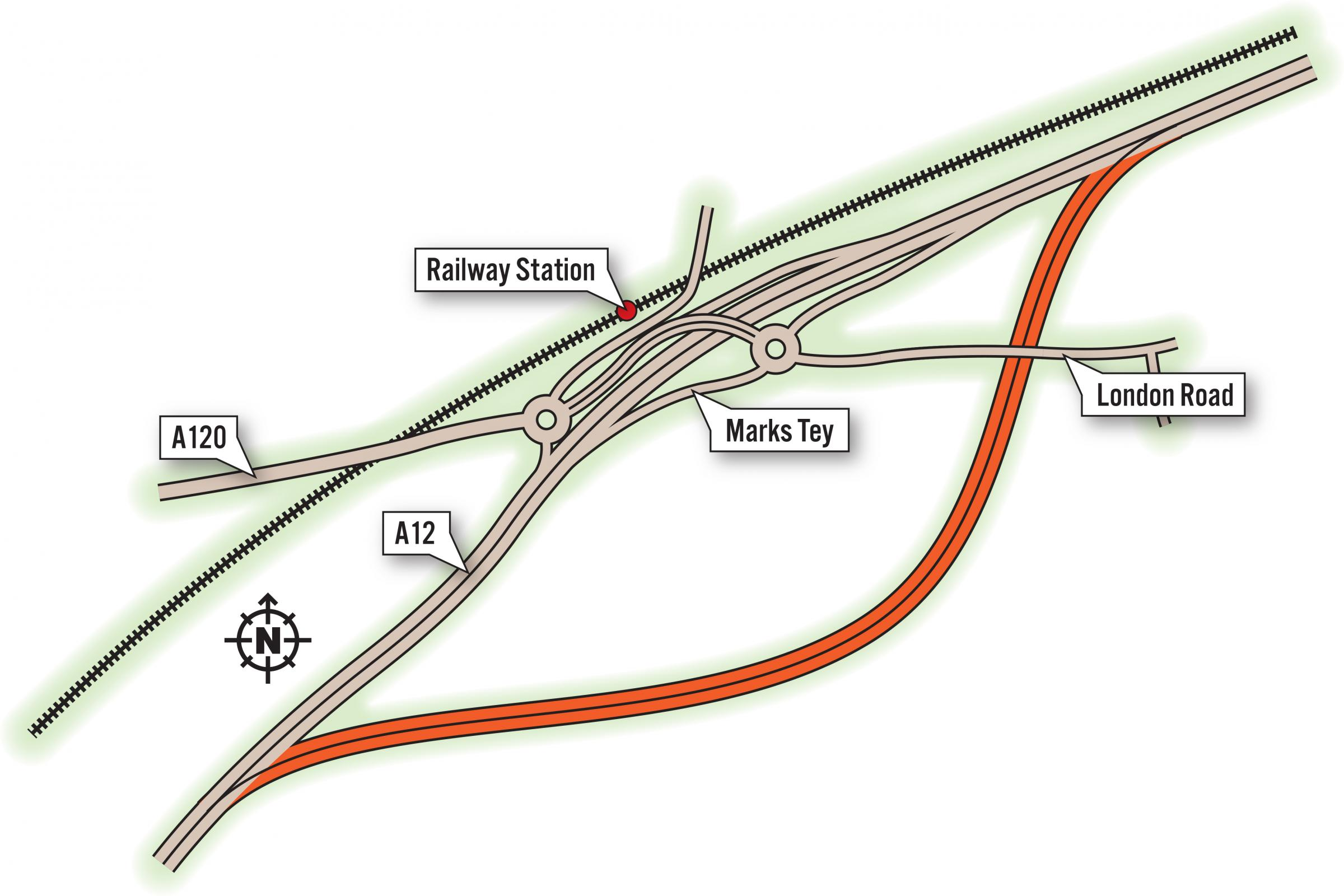 A12 Marks Tey Bypass Map wk13 18
