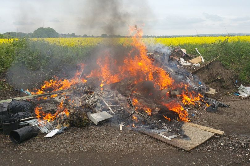 Flytip set alight sparking emergency service response