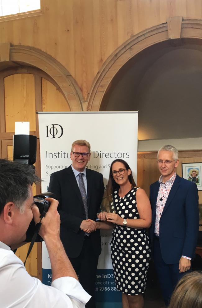 Award - Stephen Martin, IoD director-General, Jane Gurney and David Sales regional chairman of the IoD for the East of England