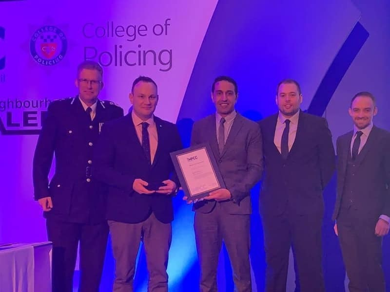 Congratulations- Chief Constable Simon Cole QPM with Chelmsford and Maldon District Commander Chief Inspector Gerry Parker, Inspector Taks Shah, Temporary Inspector Aaron Heard and PC James Willis