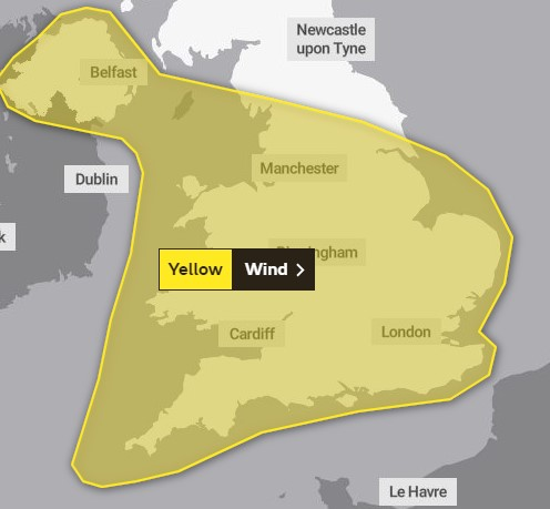 The weather warning in place for Wednesday